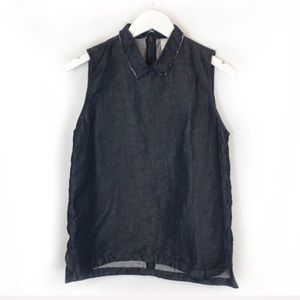 GAP Denim Collared Sleeveless Tank Top Blouse